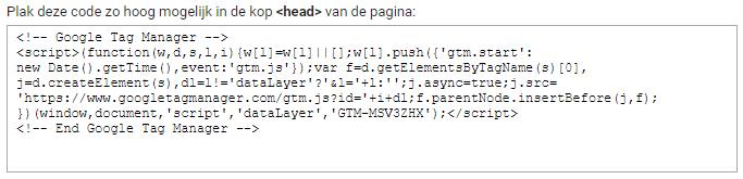 Google tag manager installeren header code
