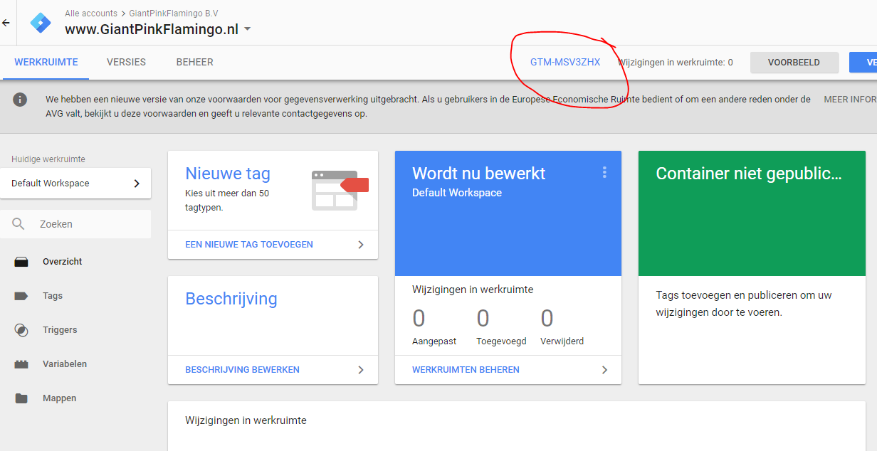 Google tag manager installeren GTM ID